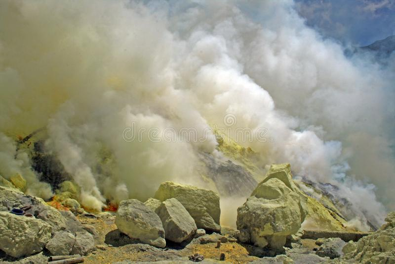 Yellow smoke stock photo