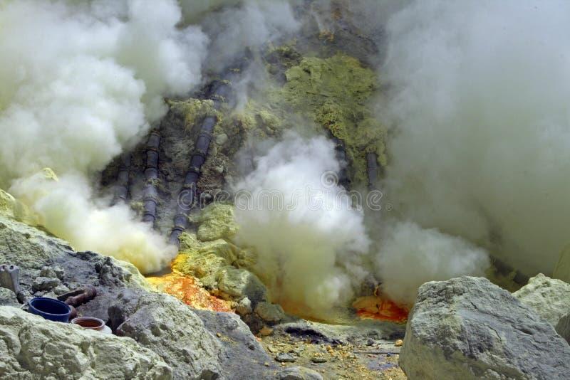 Kawa lijen sulphur royalty free stock photos
