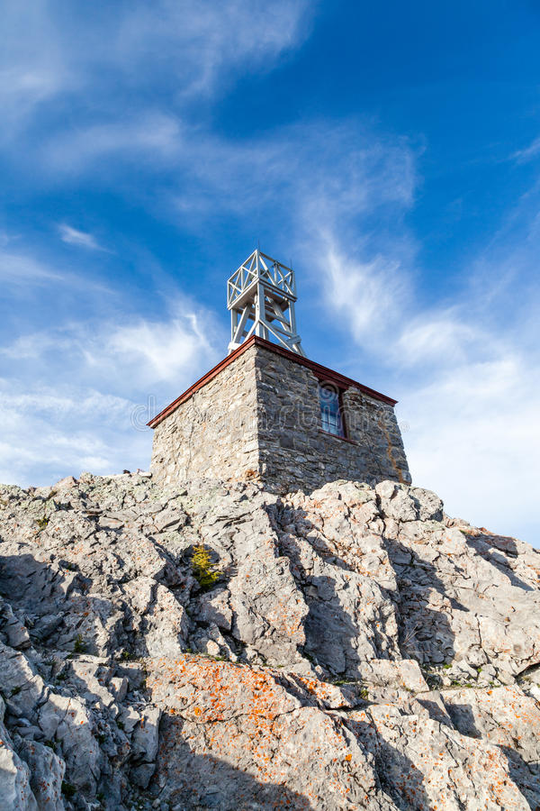 Sulphur Mountain Cosmic Ray Station. Remains of the Sulphur Mountain Cosmic Ray Station in Banff National Park. It was designated a National Historic Site of stock photography