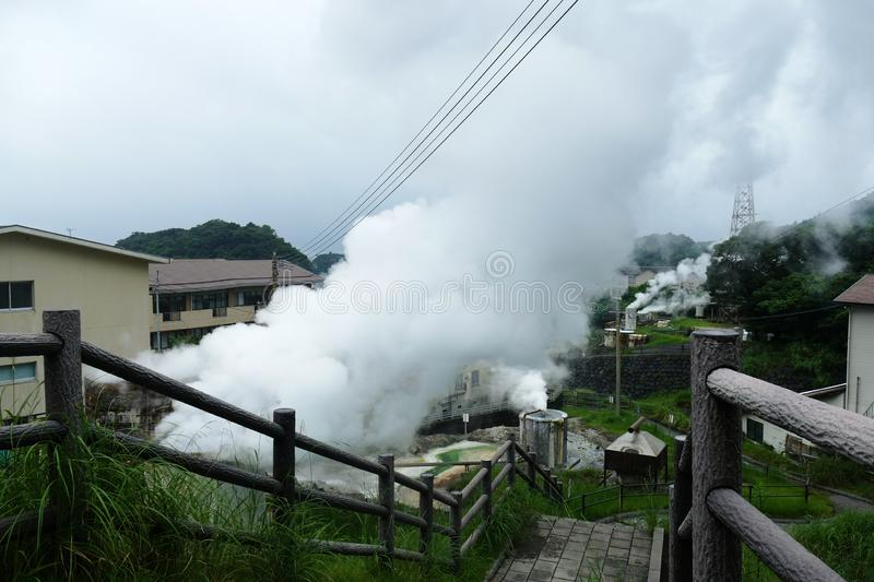 Sulphury steam in the geothermal area around Kirishima, Japan. Steam arising from geothermal area in Kirishima, Kyushu, Japan, which is used as energy source stock photography