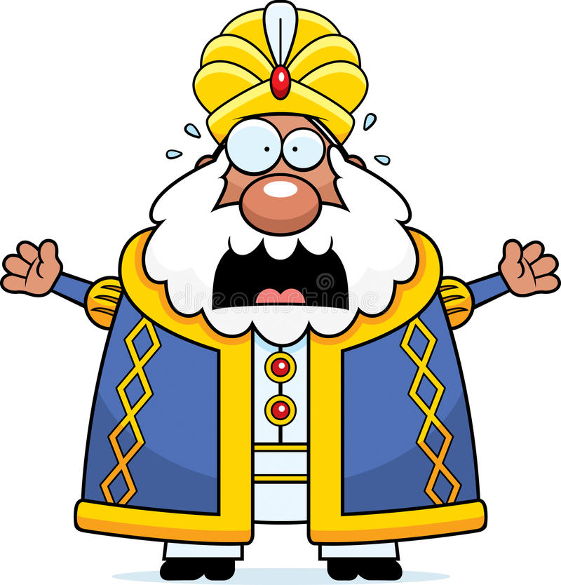 Sultán asustado de la historieta ilustración del vector