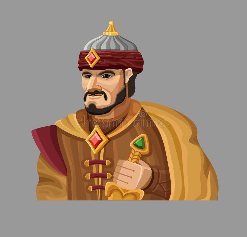 Sultán de la historieta en oro stock de ilustración