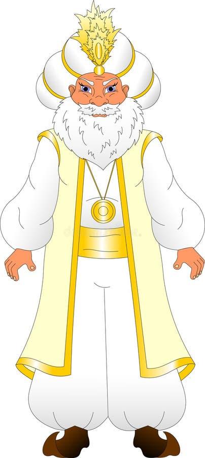 Sultán en un turbante con una pluma en la ropa blanca ilustración del vector