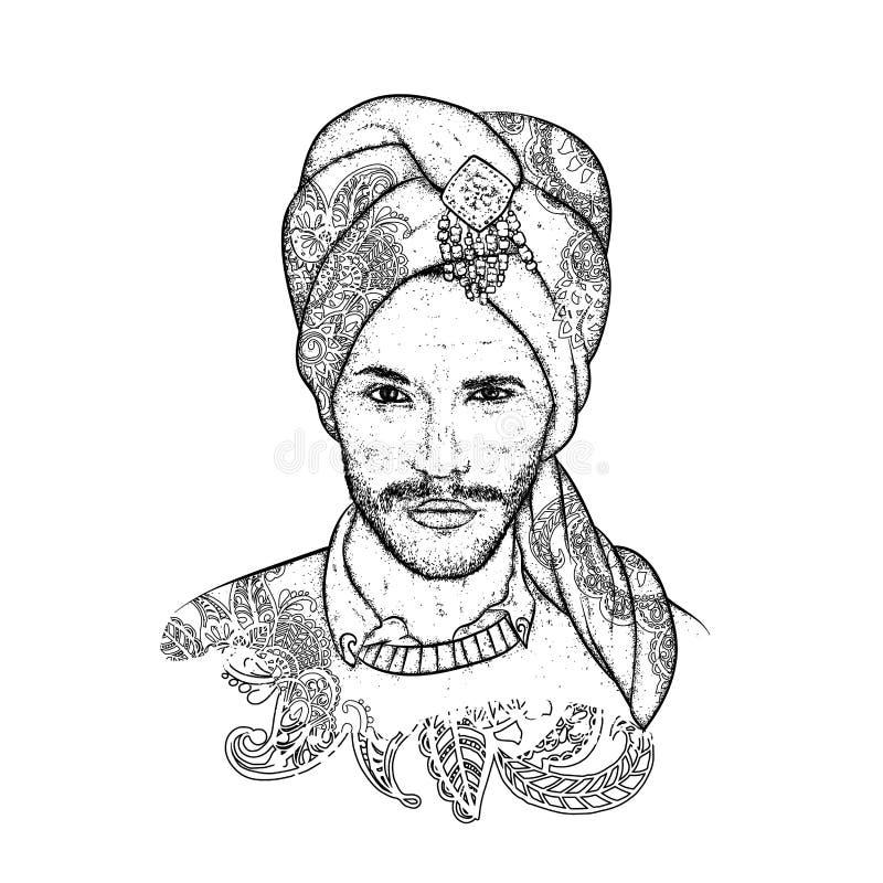 Sultán hermoso en un turbante con los modelos Ilustración del vector Hombre oriental Moda y estilo stock de ilustración