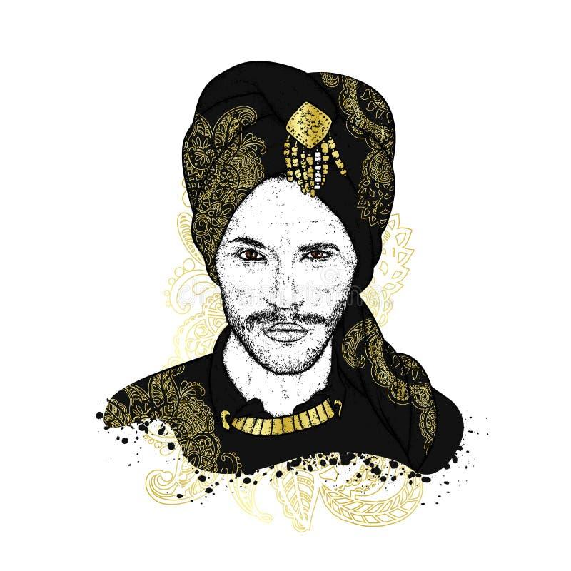 Sultán hermoso en un turbante con los modelos Ilustración del vector Hombre oriental Moda y estilo ilustración del vector