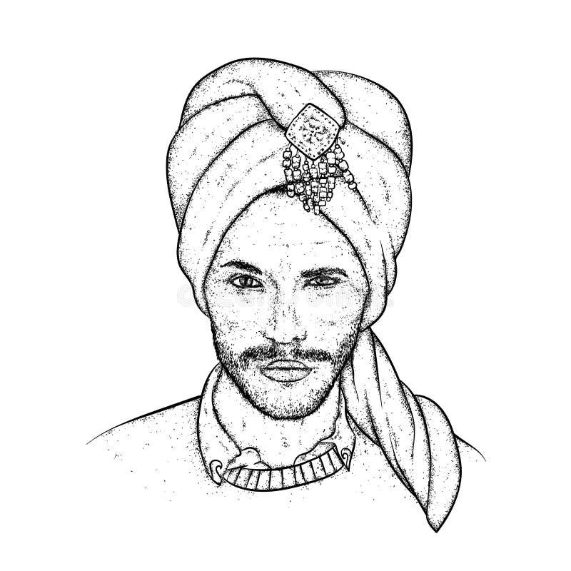 Sultán hermoso en un turbante con los modelos Ilustración del vector Hombre oriental Moda y estilo libre illustration
