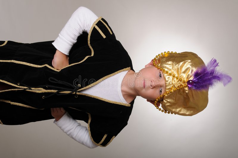 The Sultan. Young boy wearing a Sultan or Sheik's halloween costume royalty free stock image