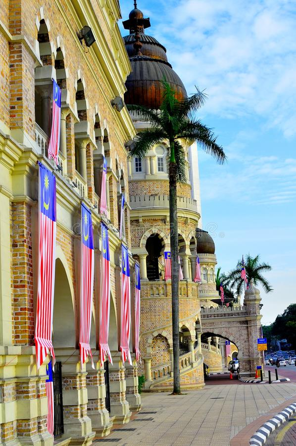 Sultan Abdul Samad building. The clock tower of the Sultan Abdul Samad Building in Kuala Lumpur Malaysia. At the backgrund, the KL Tower can be seen. The Sultan royalty free stock photo