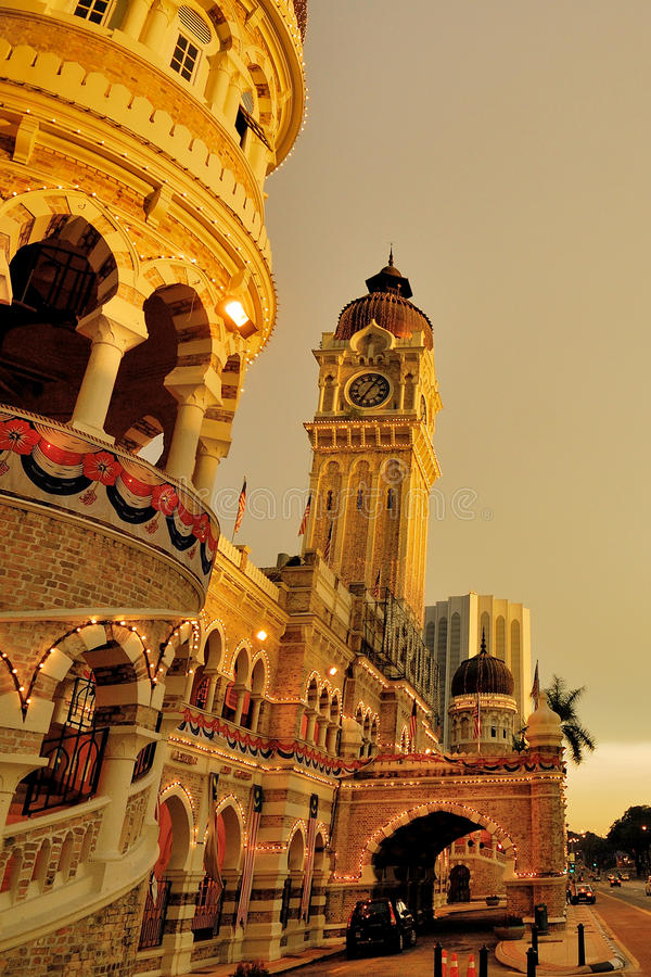 Sultan Abdul Samad Building. The Sultan Abdul Samad Building is located in front of the Dataran Merdeka (Independence Square) and the Royal Selangor Club, by stock photo