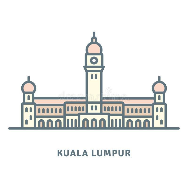 Sultan Abdul Samad Building en el ejemplo del vector de Kuala Lumpur ilustración del vector