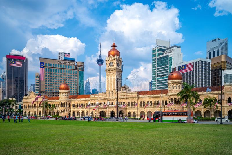 Sultan abdul samad building in Kuala Lumpur, Malaysia. The Sultan Abdul Samad Building is a late nineteenth century building located along Jalan Raja in front of royalty free stock photo