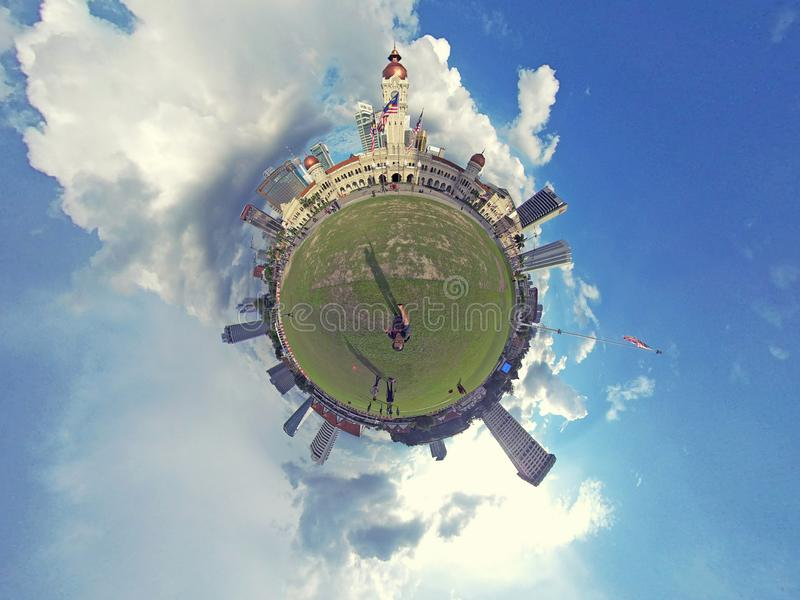 Little planet, Dataran Merdeka, Kuala Lumpur. The Sultan Abdul Samad Building is a late nineteenth century building located along Jalan Raja in front of the royalty free stock photos