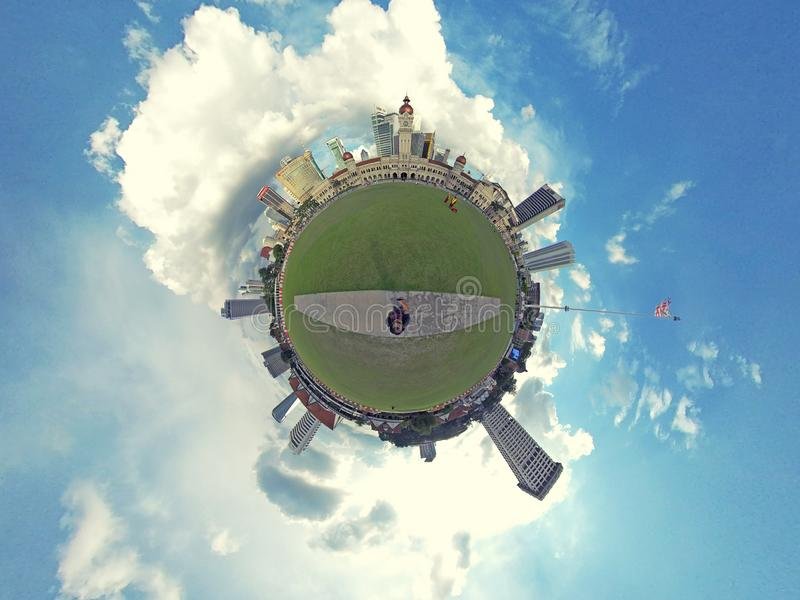 Little planet, Dataran Merdeka, Kuala Lumpur. The Sultan Abdul Samad Building is a late nineteenth century building located along Jalan Raja in front of the stock photos