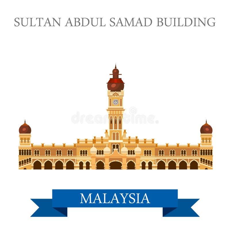 Sultan Abdul Samad Building Malaysia dragningssight vektor illustrationer