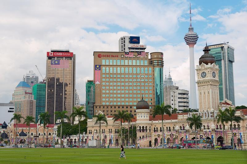 Sultan Abdul Samad building with modern buildings at the background in Kuala Lumpur, Malaysia. stock photo