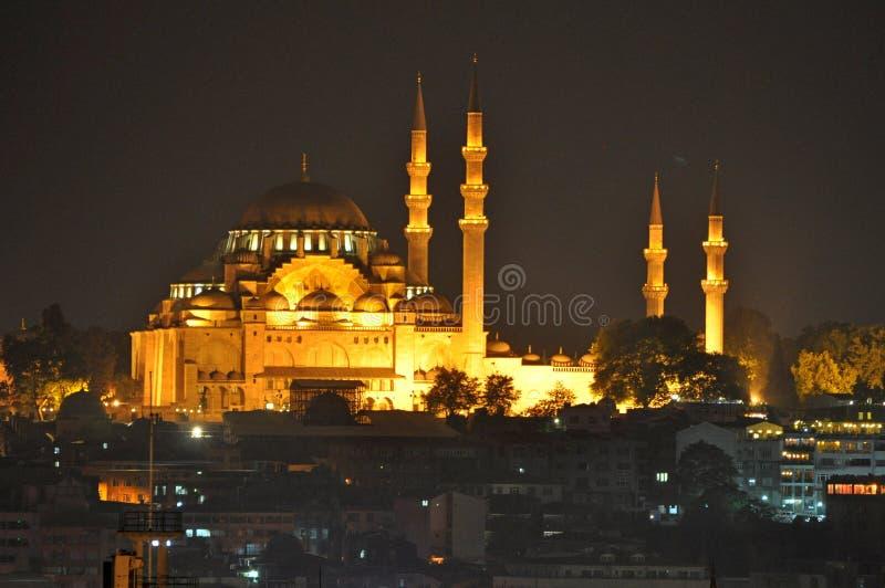 Sultan Ahmed Mosque bij nacht, Istanboel, Turkije stock afbeeldingen