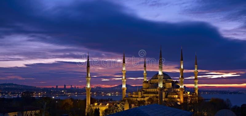 Sultan Ahmed Mosque bij zonsopgang stock foto's