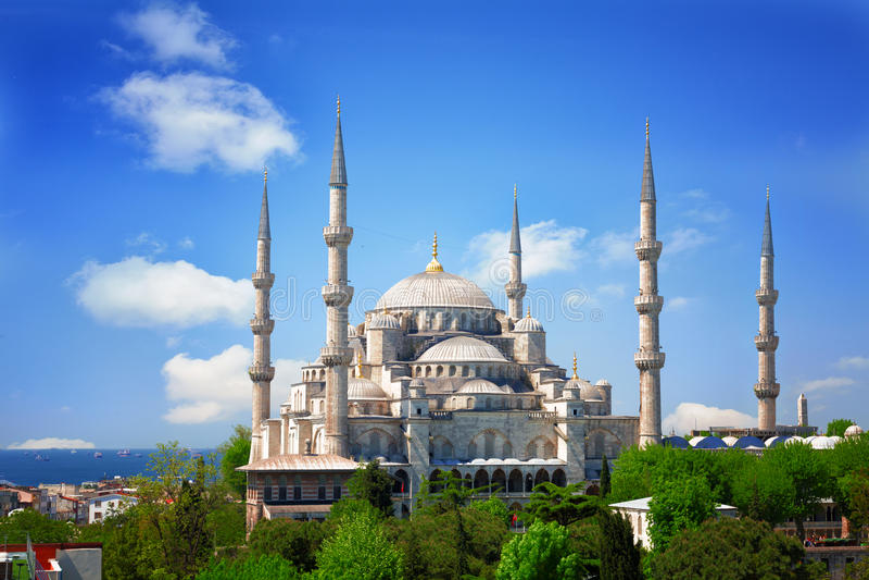 Sultan Ahmed Mosque (Blauwe Moskee) in Istanboel stock foto's