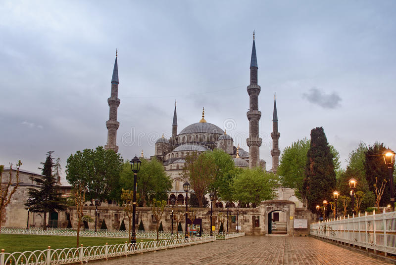 Sultan Ahmed Mosque i Istanbul kalkon arkivbild