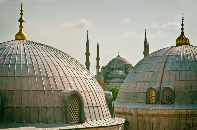 Sultan Ahmed Mosque i Istanbul kalkon royaltyfri foto