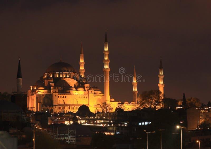 Sultan Ahmed Mosque i Istanbul på natten royaltyfria foton