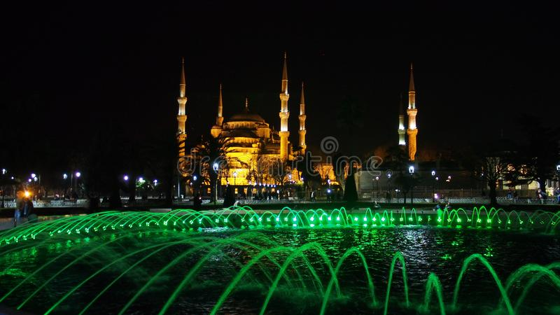 Sultan Ahmed Mosque Istanbul city night street photo. Istanbul city, Sultan Ahmed Mosque night sтреет landscape and moon stock photo
