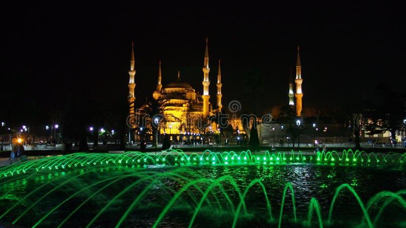 Sultan Ahmed Mosque Istanbul-Stadtnachtstraßenfoto stockfoto