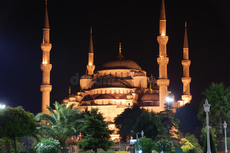Sultan Ahmed Mosque, Istanbul Turkey. Sultan Ahmed Mosque also known as the Blue Mosque, glowing at night in Istanbul Turkey royalty free stock photo