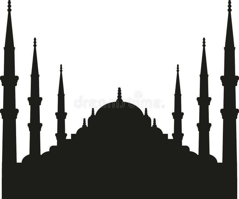 Sultan Ahmed Mosque-Schattenbild Istanbul lizenzfreie abbildung