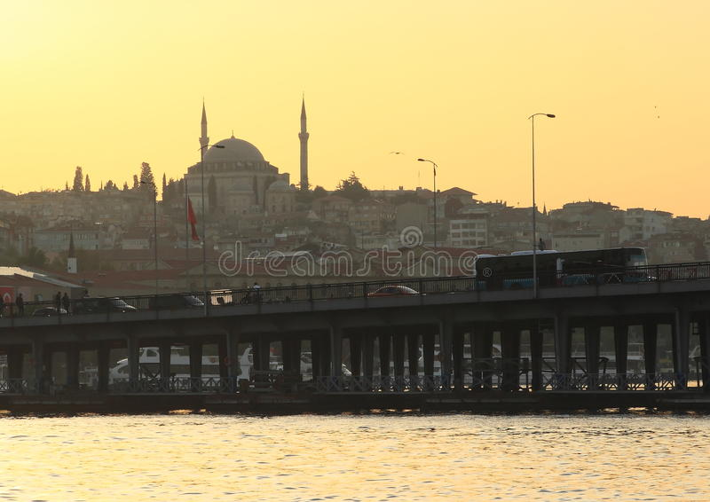 Sultan Ahmed Mosque während des Sonnenuntergangs stockfotos