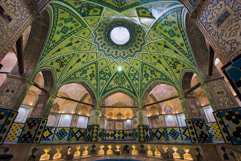 Sultan Amir Ahmad Bathhouse i Kashan, Iran royaltyfri foto