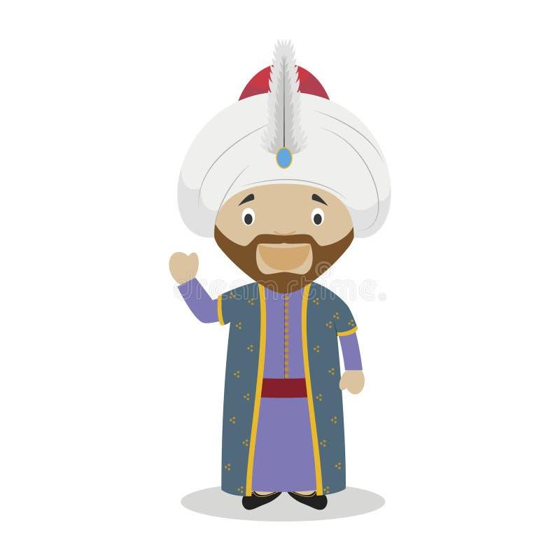 Sultan Mehmed II el personaje de dibujos animados del conquistador Ilustración del vector ilustración del vector