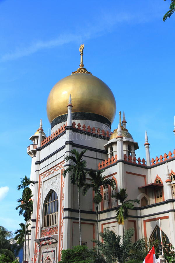 Sultan mosque. With the golden dome stock photography