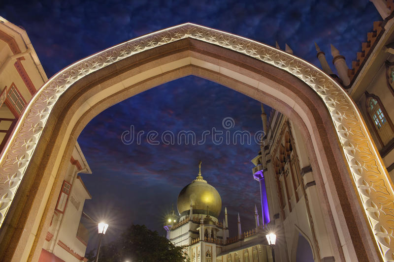 Sultan Mosque Gateway Blue Hour royalty free stock photography