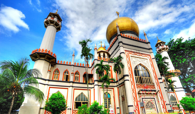 Sultan Mosque. Is located at Muscat Street and North Bridge Road within the Kampong Glam district of Rochor Planning Area in Singapore. The mosque is considered stock photo