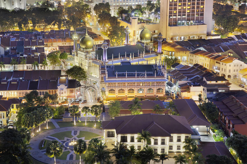 Sultan Mosque at Night. Sultan Mosque in Malay Kampong Glam at Night Aerial View stock photos