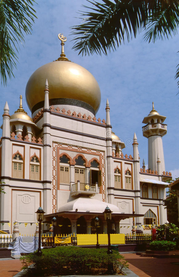 Sultan Mosque Singapore. The Sultan Mosque in Singapore. The very impressive building is the largest mosque of the city-state royalty free stock photo