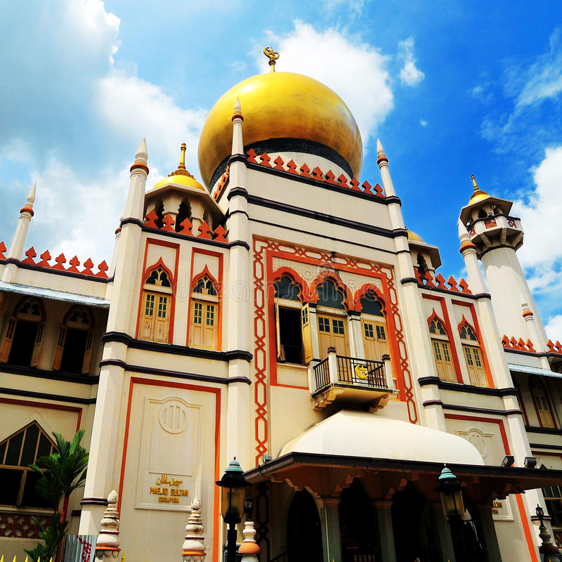 Sultan Mosque, Singapore. Masjid Sultan or Sultan Mosque, is a mosque located at Muscat Street and North Bridge Road within the Kampong Glam precinct of the stock photo