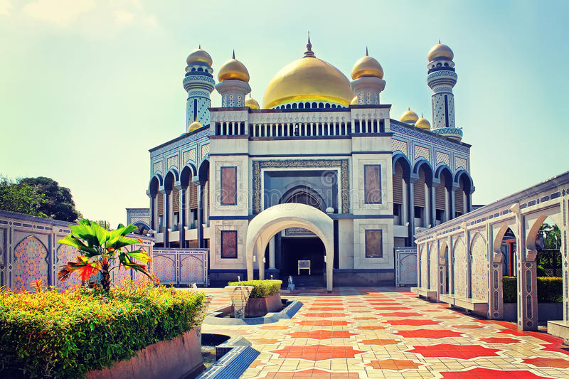 Sultan Omar Ali Saifudding Mosque Bandar Seri Begawan, Brunei, royaltyfri fotografi