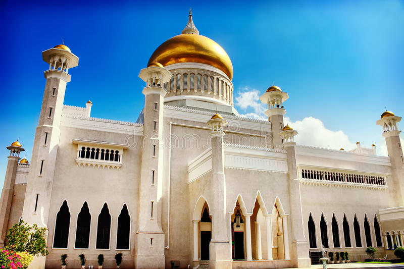 Sultan Omar Ali Saifudding Mosque Bandar Seri Begawan, Brunei, royaltyfri foto