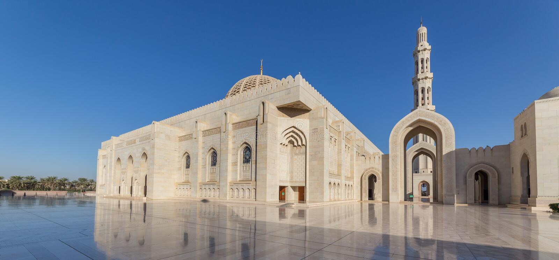 Sultan Qaboos Grand Mosque Muscat, Oman arkivbild
