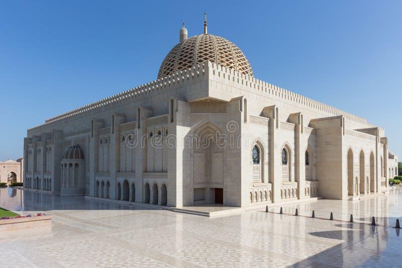 Sultan Qaboos Grand Mosque in Muscateldruif, Oman stock foto's