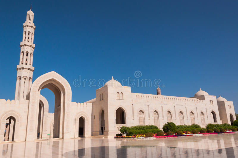 Sultan Qaboos Grand Mosque, Muscateldruif, Oman stock afbeelding