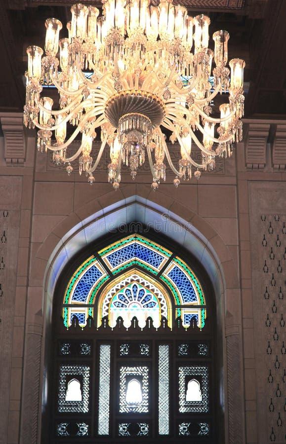 Sultan Qaboos ljus och fönster arkivfoto