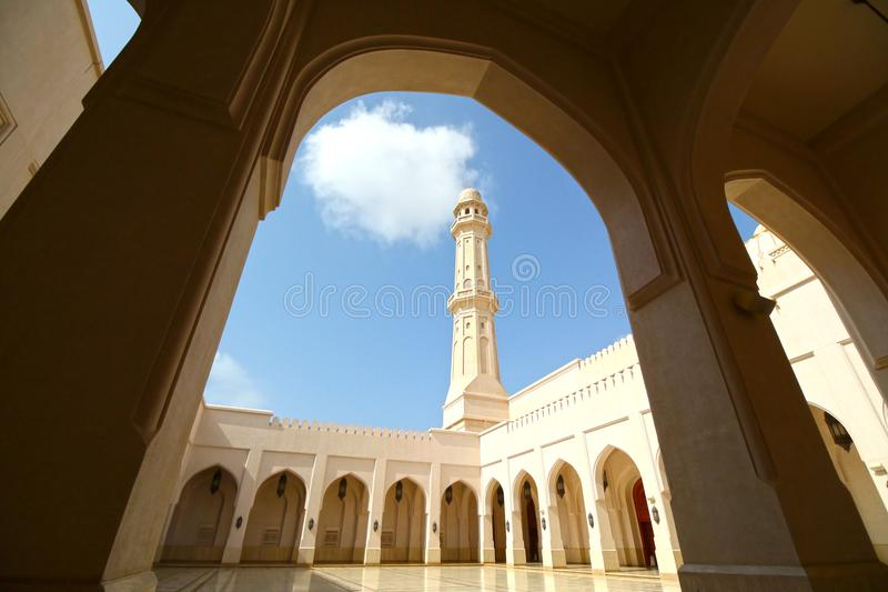 Sultan Qaboos Mosque Salalah Oman. Completion in 2009. Beautiful Open Courtyard. With blue sky background royalty free stock photography