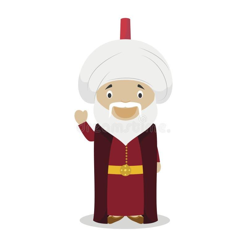 Sultan Suleiman I el personaje de dibujos animados magnífico Ilustración del vector ilustración del vector