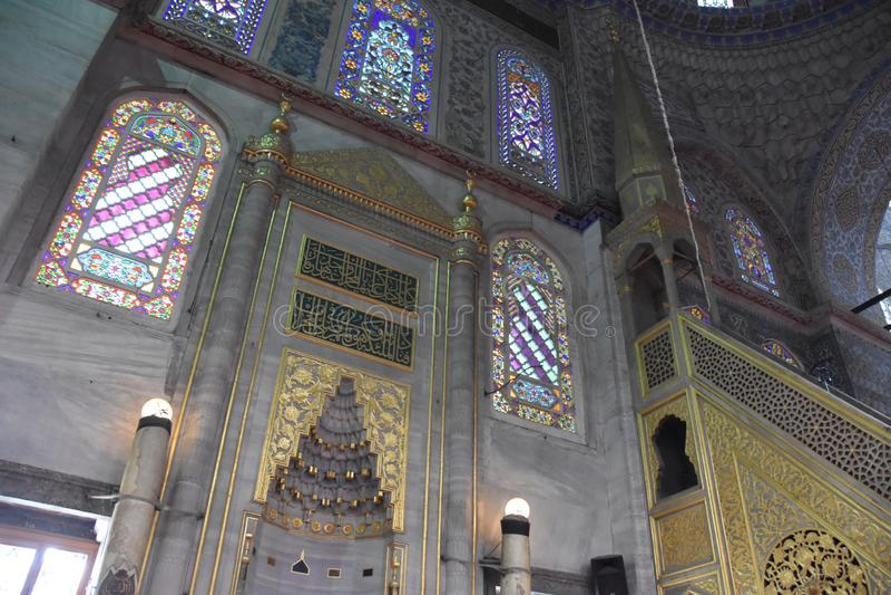 Sultanahmet清真寺内部蓝色清真寺Ä°stanbul 免版税库存图片