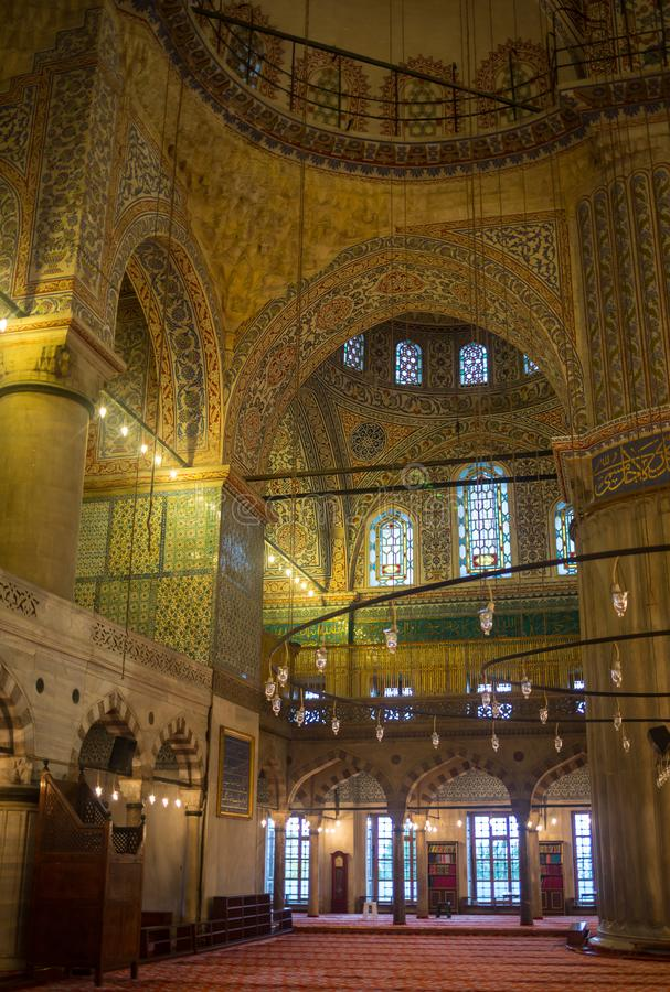 Sultanahmet清真寺蓝色清真寺的内部在伊斯坦布尔,土耳其 免版税库存图片