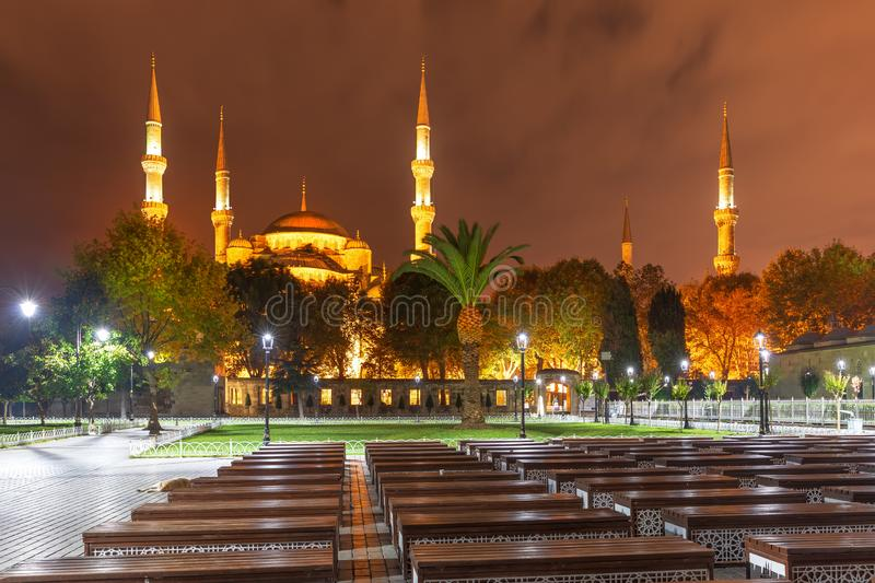 Sultanahmet or Blue Mosque in Istanbul, Turkey, night view royalty free stock photos