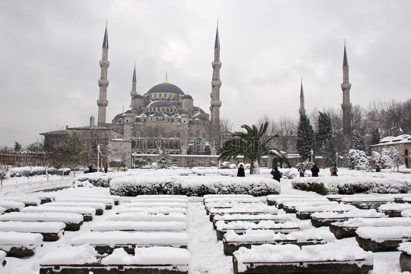 Sultanahmet moské blå moskévinter arkivfoton